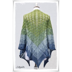 Knitting Pattern Lace Shawl BLUE HORTENSIA