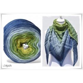 Produktkombination Strickanleitung + Farbverlaufswolle Merino BLUE HORTENSIA