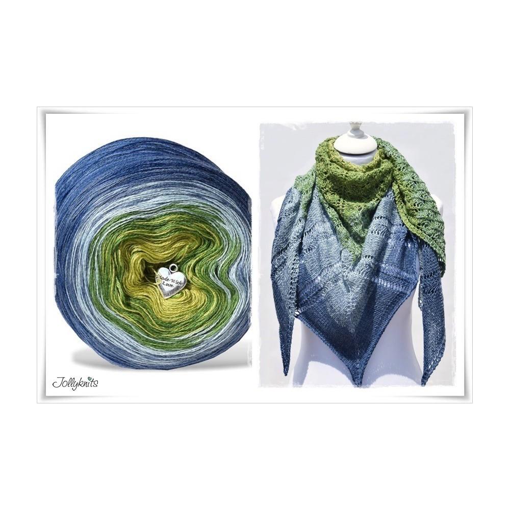 Produktkombination Strickanleitung + Farbverlaufsgarn Merino BLUE HORTENSIA