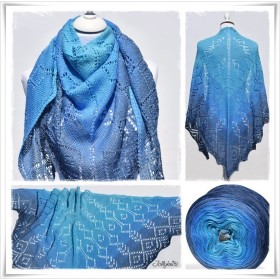 Knitting Pattern Lace Shawl BLUE LAGOON
