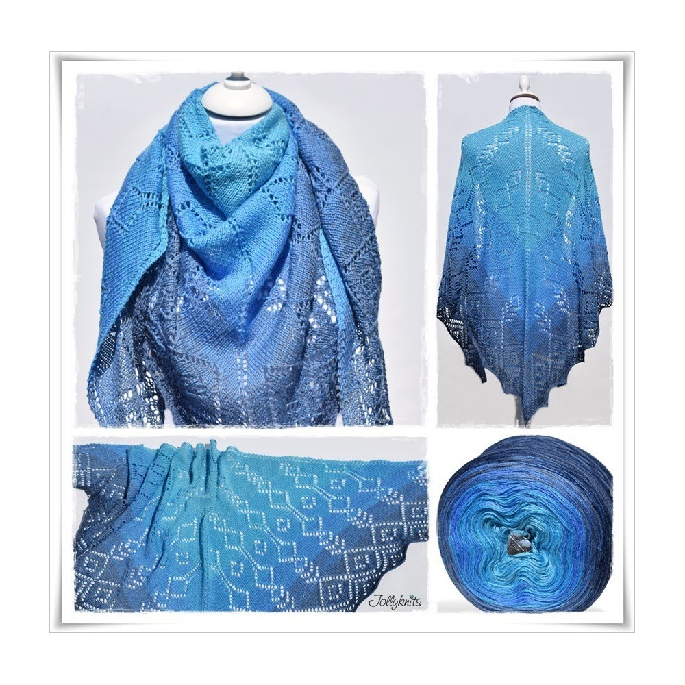 Strickanleitung Lacetuch BLUE LAGOON
