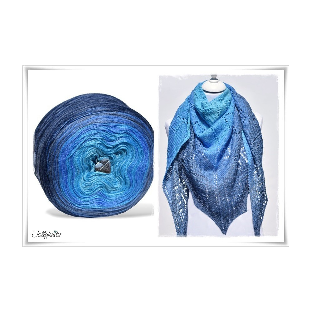 Produktkombination Strickanleitung + Farbverlaufsgarn Merino BLUE LAGOON