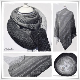 Knitting Pattern Lace Shawl BLACK OR WHITE
