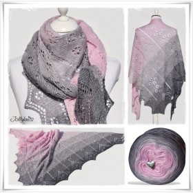 Knitting Pattern Lace Shawl PINK SYMPHONY