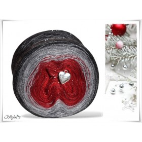 Gradient Yarn Merino RED CHRISTMAS GLITTER SILVER