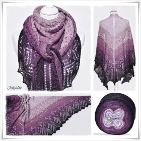 Knitting Pattern Lace Shawl BLACK LAVENDER
