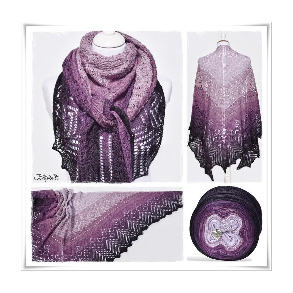 Knitting Pattern Lace Shawl BLACK LAVENDER