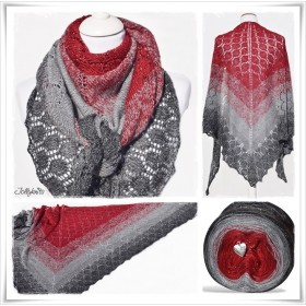 Knitting Pattern Lace Shawl RED CHRISTMAS GLITTER