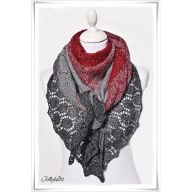 Knitting Pattern Lace Shawl RED CHRISTMAS GLITTER