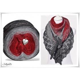 Produktkombination Strickanleitung + Farbverlaufswolle Merino RED CHRISTMAS GLITZER