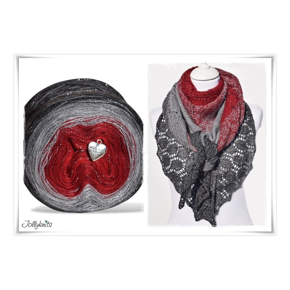 Product bundle Knitting pattern + Gradient Yarn Merino RED CHRISTMAS GLITTER