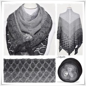 Knitting Pattern Lace Shawl BLACK CHRISTMAS
