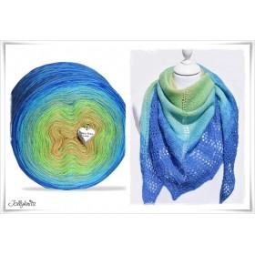 Produktkombination Strickanleitung + Farbverlaufswolle Merino  PEACOCK + Einfarbige Wolle ULTRAMARINE