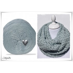 Produktkombination Strickanleitung MINT FLOWERS + Wolle einfarbig Merino BLUE GREY