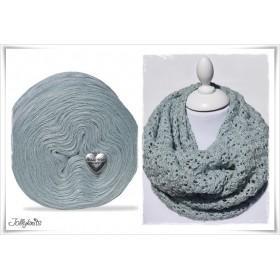 Produktkombination Strickanleitung MINT FLOWERS + Wolle einfarbig Merino BLUE GREY
