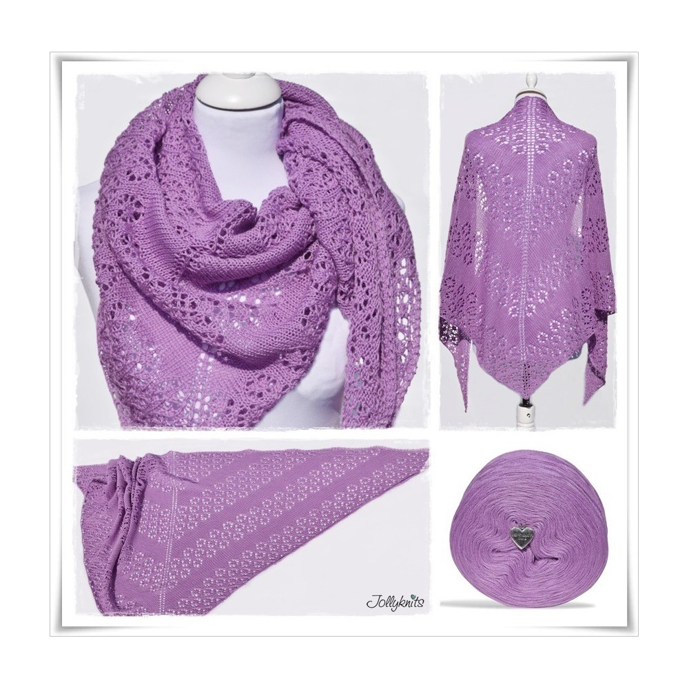 Knitted Drops Shawl With Lace Pattern In