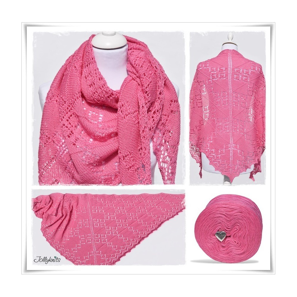 Knitting Pattern Lace Shawl HOT PINK