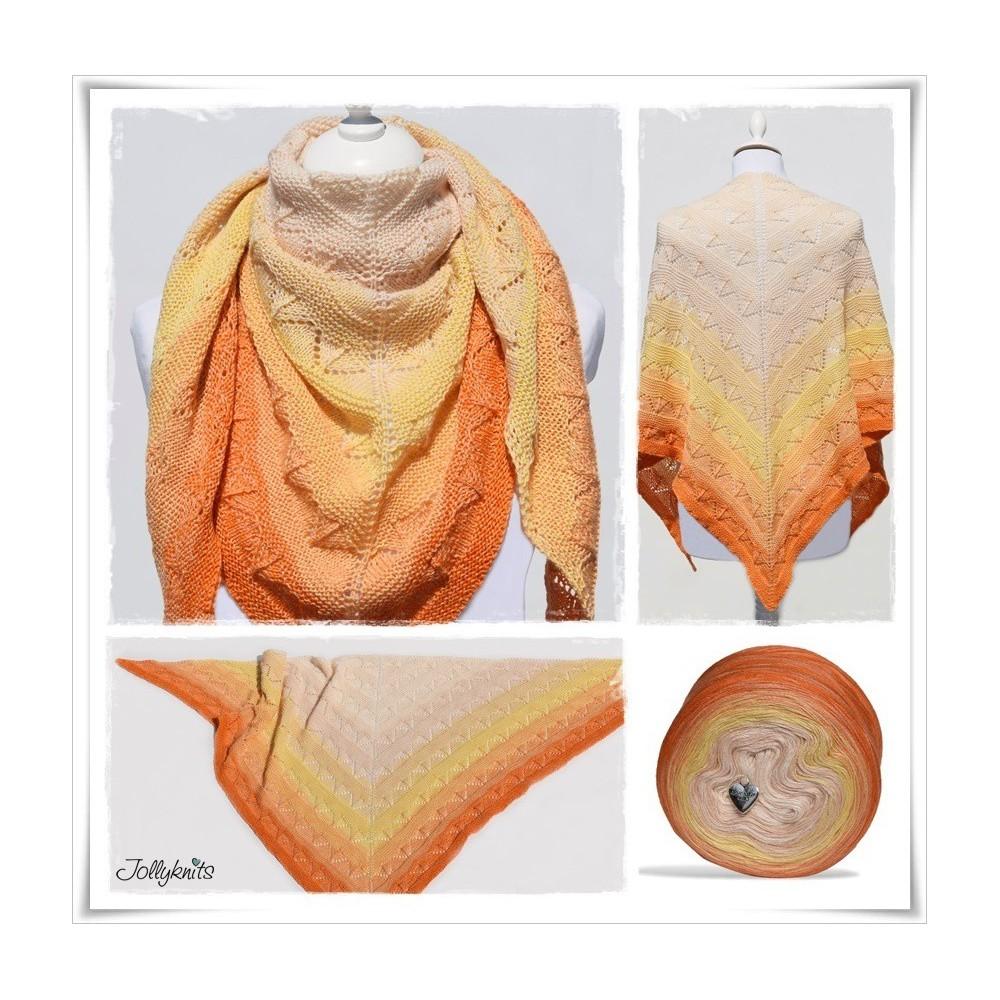 Knitting Pattern Lace Shawl ORANGE JUICE