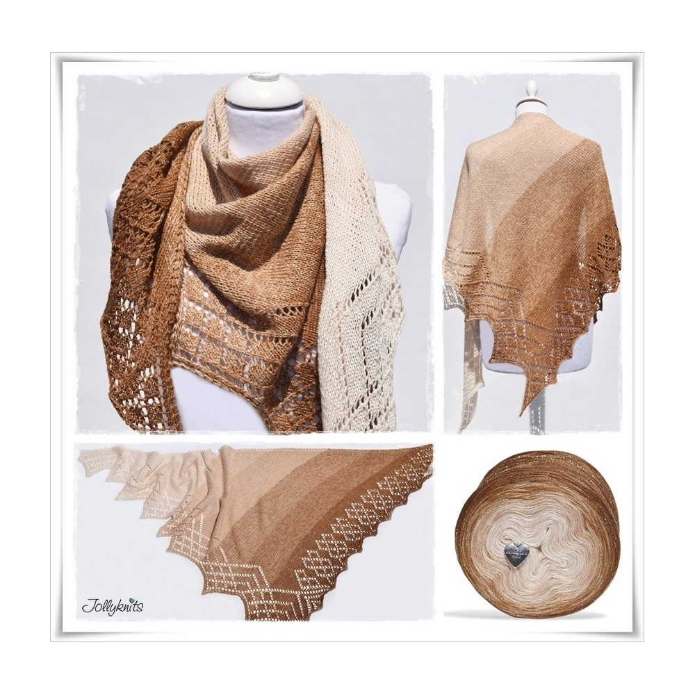 Knitting Pattern Lace Shawl GINGERBREAD
