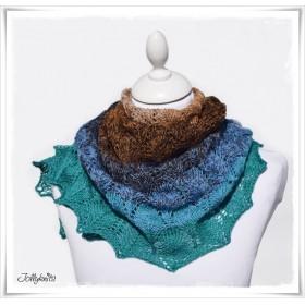 Knitting Pattern Lace Shawl CANARD BLEU