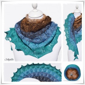 Knitting Pattern Lace Shawl CANARD BLEU