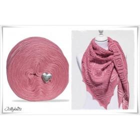 Produktkombination Strickanleitung LA VIE EN ROSE + Wolle einfarbig Merino GERANIUM