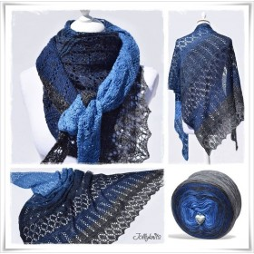 Knitting Pattern Lace Shawl BLUE MOUNTAIN