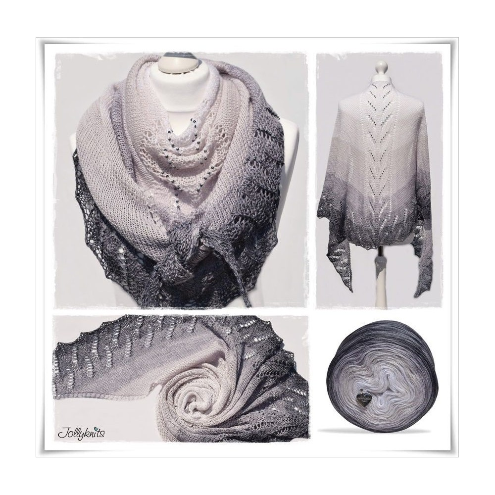 Knitting Pattern Lace Shawl GREY DAWN