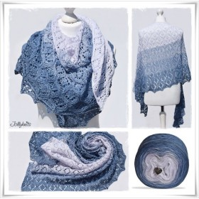 Knitting Pattern Lace Shawl RHAPSODY IN BLUE