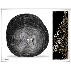 Gradient Yarn Merino BLACK CHRISTMAS GLITTER GOLD