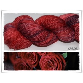 Gradient Yarn hand dyed RED DEVIL GLTTER SILVER