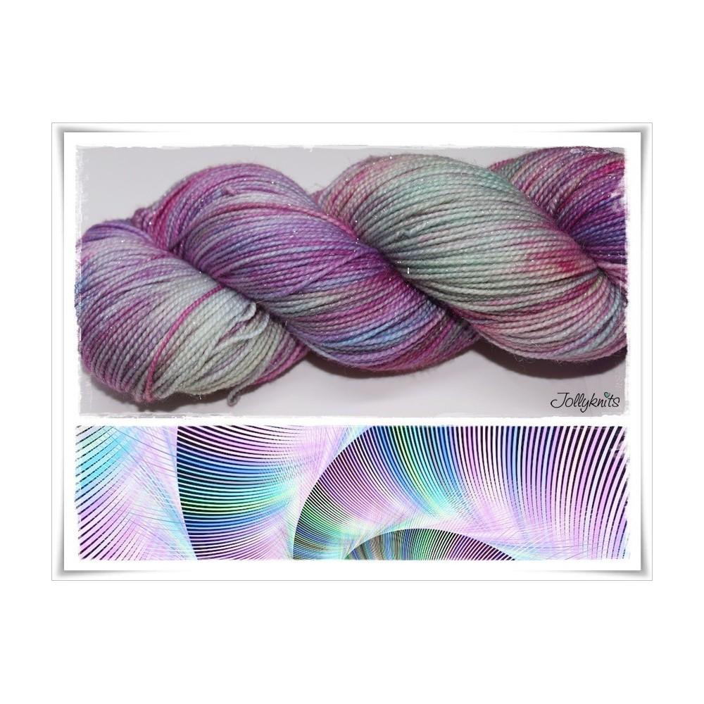 Gradient Yarn hand dyed TENTAKEL GLITTER SILVER