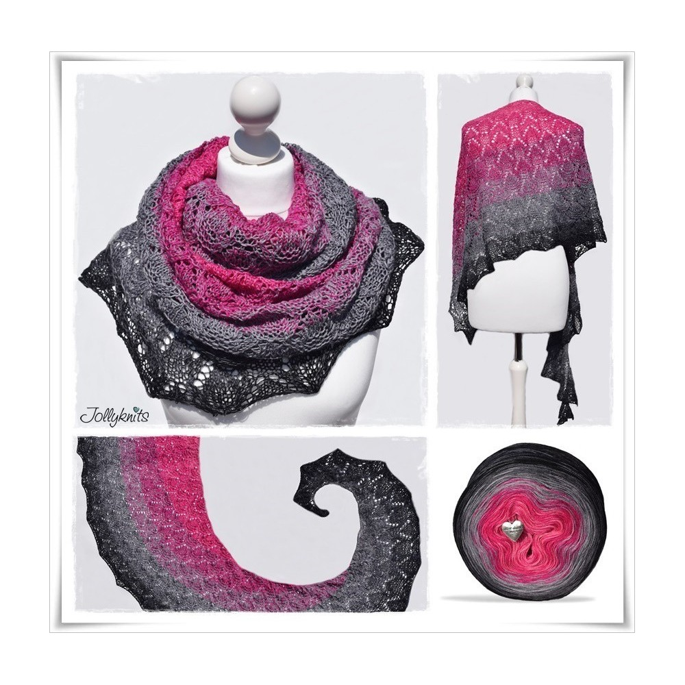 Knitting Pattern Lace Shawl BLACK ROSE