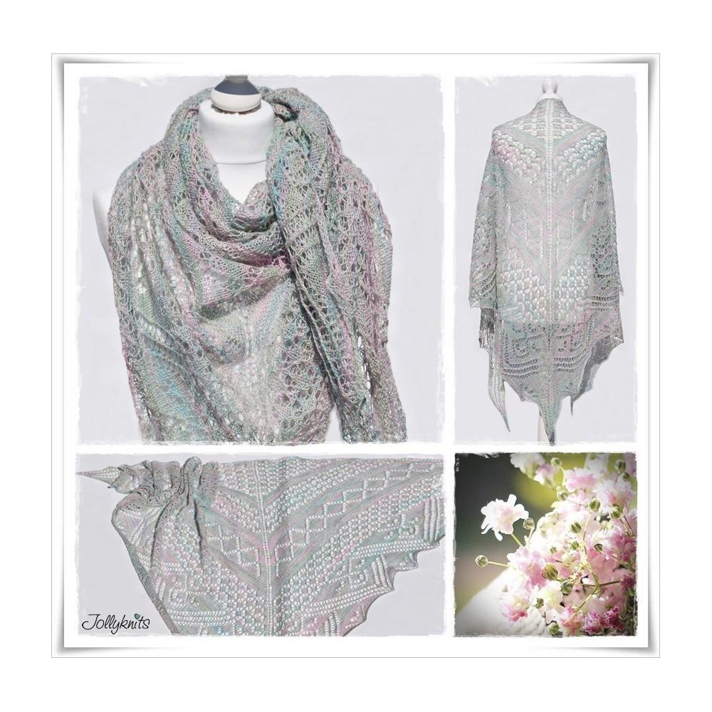 Knitting Pattern Lace Shawl BLOOMY DAYS