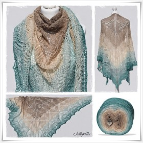 Knitting Pattern Lace Shawl OCEAN DUST
